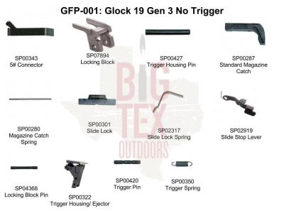 .Glock OEM Frame Parts Package 9mm, 9mm Frame